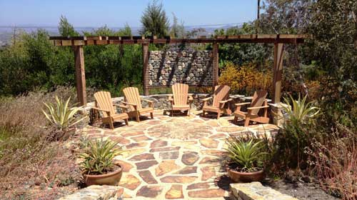 Flagstone Patio and Wood Trellis